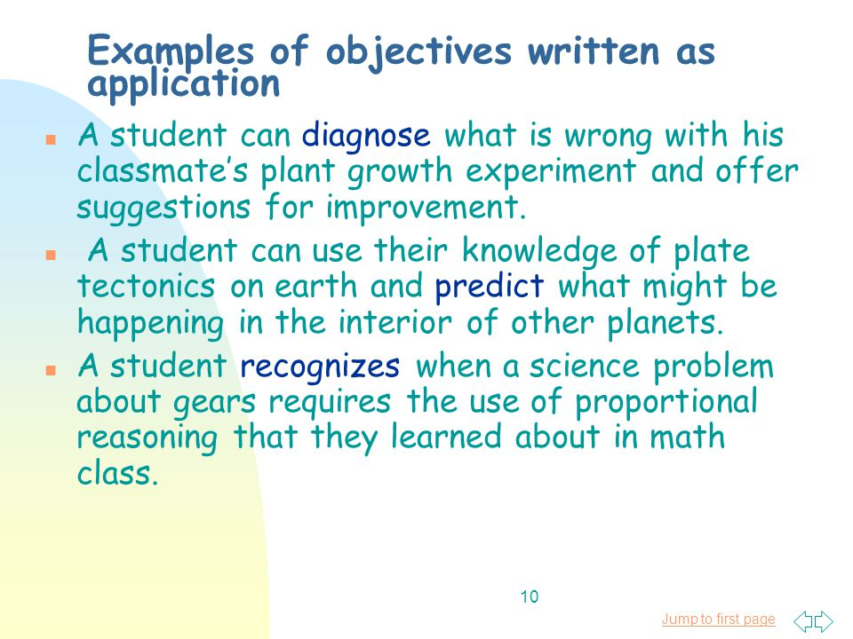 Jump to first page 10 Examples of objectives written as application n A student can diagnose what is wrong with his classmate's plant growth experiment and offer suggestions for improvement.
