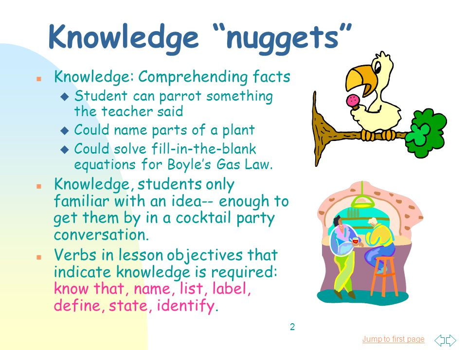Jump to first page 3 Some examples of objectives written at level of knowledge nuggets: n Students will know that exothermic chemical reactions release energy.