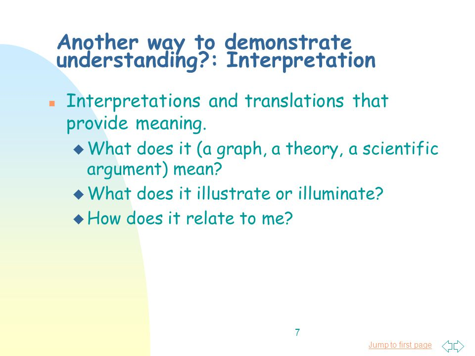 Jump to first page 7 Another way to demonstrate understanding : Interpretation n Interpretations and translations that provide meaning.