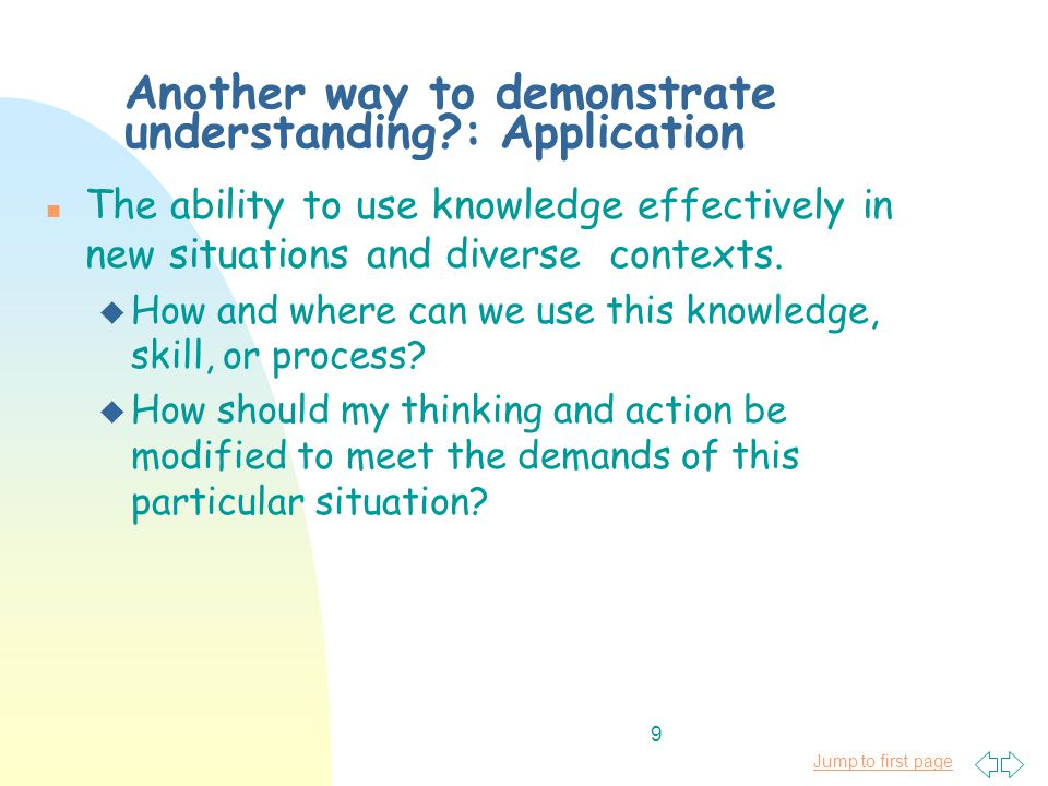 Jump to first page 9 Another way to demonstrate understanding : Application n The ability to use knowledge effectively in new situations and diverse contexts.