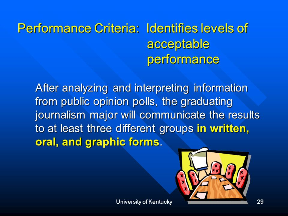 University of Kentucky29 Performance Criteria: Identifies levels of acceptable performance After analyzing and interpreting information from public opinion polls, the graduating journalism major will communicate the results to at least three different groups in written, oral, and graphic forms.
