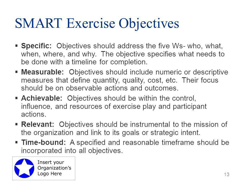 SMART Exercise Objectives  Specific: Objectives should address the five Ws- who, what, when, where, and why.