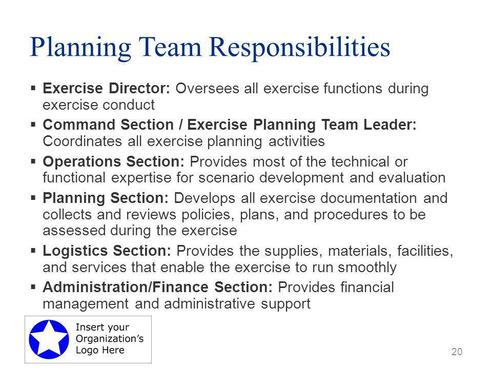 Planning Team Responsibilities  Exercise Director: Oversees all exercise functions during exercise conduct  Command Section / Exercise Planning Team Leader: Coordinates all exercise planning activities  Operations Section: Provides most of the technical or functional expertise for scenario development and evaluation  Planning Section: Develops all exercise documentation and collects and reviews policies, plans, and procedures to be assessed during the exercise  Logistics Section: Provides the supplies, materials, facilities, and services that enable the exercise to run smoothly  Administration/Finance Section: Provides financial management and administrative support 20