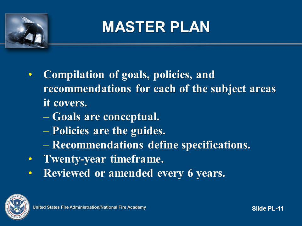 MASTER PLAN Compilation of goals, policies, and recommendations for each of the subject areas it covers.Compilation of goals, policies, and recommendations for each of the subject areas it covers.