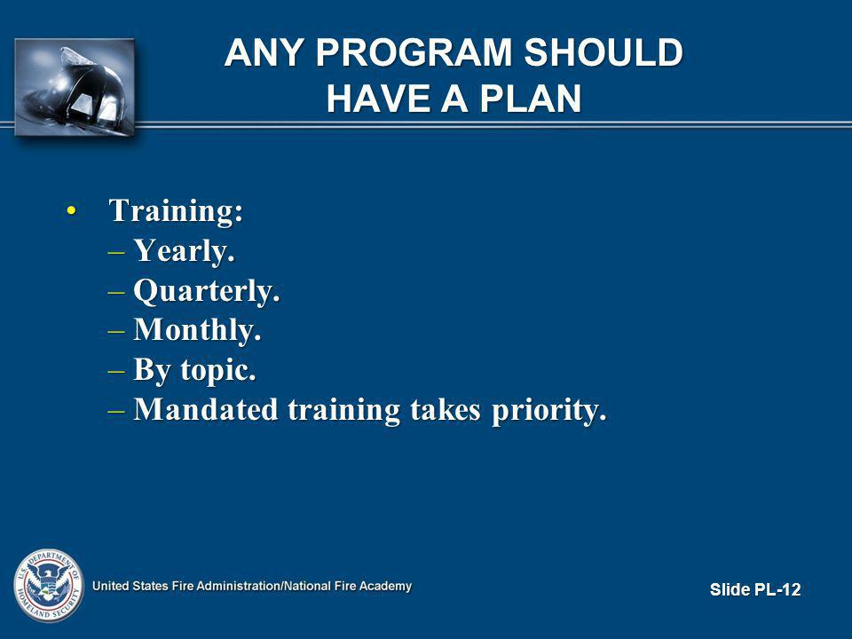ANY PROGRAM SHOULD HAVE A PLAN Training:Training: – Yearly.