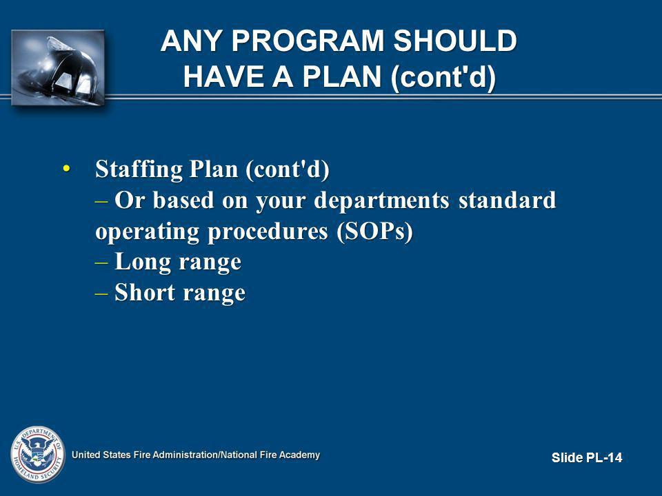Staffing Plan (cont d) Staffing Plan (cont d) – Or based on your departments standard operating procedures (SOPs) – Long range – Short range Slide PL-14 ANY PROGRAM SHOULD HAVE A PLAN (cont d)