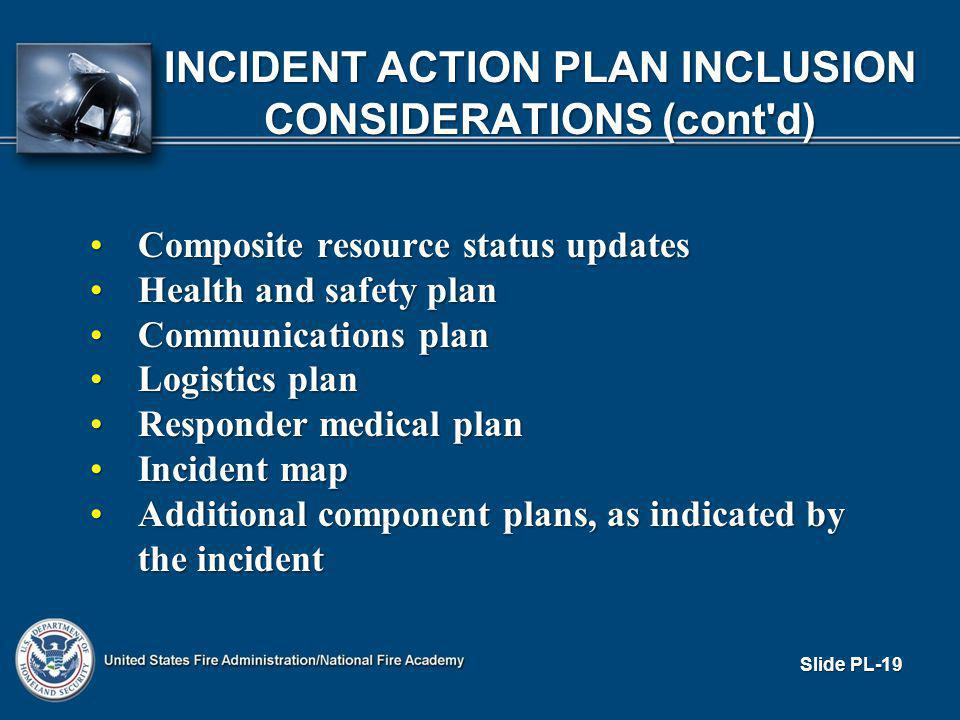 INCIDENT ACTION PLAN INCLUSION CONSIDERATIONS (cont d) Composite resource status updatesComposite resource status updates Health and safety planHealth and safety plan Communications planCommunications plan Logistics planLogistics plan Responder medical planResponder medical plan Incident mapIncident map Additional component plans, as indicated by the incidentAdditional component plans, as indicated by the incident Slide PL-19
