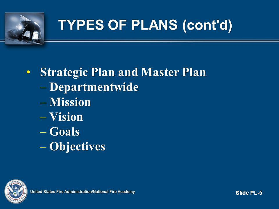 TYPES OF PLANS (cont d) Strategic Plan and Master PlanStrategic Plan and Master Plan – Departmentwide – Mission – Vision – Goals – Objectives Slide PL-5
