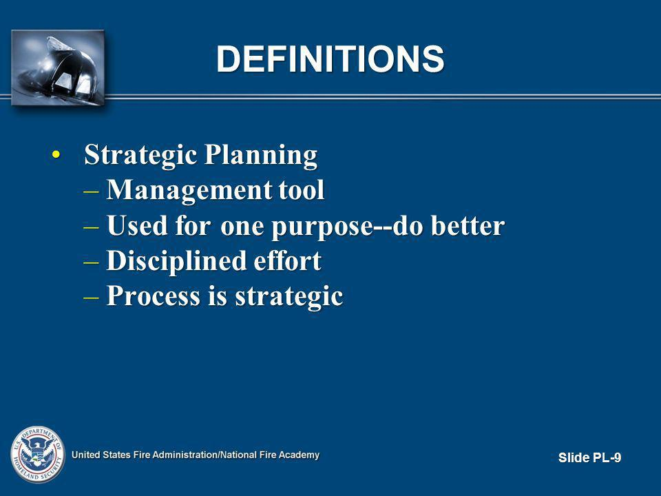 DEFINITIONS Strategic PlanningStrategic Planning – Management tool – Used for one purpose--do better – Disciplined effort – Process is strategic Slide PL-9