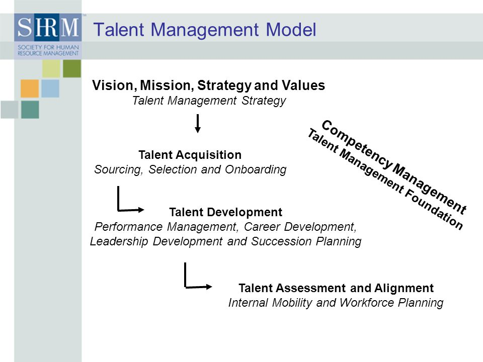 Talent Management Model Vision, Mission, Strategy and Values Talent Management Strategy Talent Acquisition Sourcing, Selection and Onboarding Talent Development Performance Management, Career Development, Leadership Development and Succession Planning Talent Assessment and Alignment Internal Mobility and Workforce Planning Competency Management Talent Management Foundation