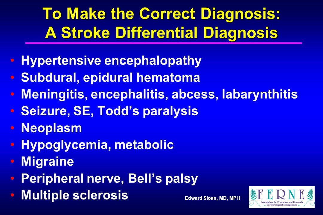 Edward Sloan, MD, MPH To Make the Correct Diagnosis: A Stroke Differential Diagnosis Hypertensive encephalopathy Subdural, epidural hematoma Meningiti