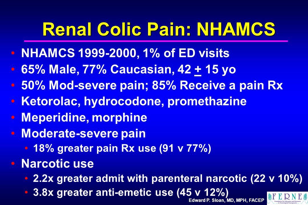Edward P. Sloan, MD, MPH, FACEP Renal Colic Pain: NHAMCS NHAMCS 1999-2000, 1% of ED visits 65% Male, 77% Caucasian, 42 + 15 yo 50% Mod-severe pain; 85