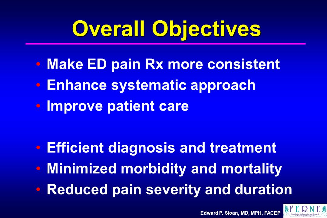 Overall Objectives Make ED pain Rx more consistent Enhance systematic approach Improve patient care Efficient diagnosis and treatment Minimized morbidity and mortality Reduced pain severity and duration