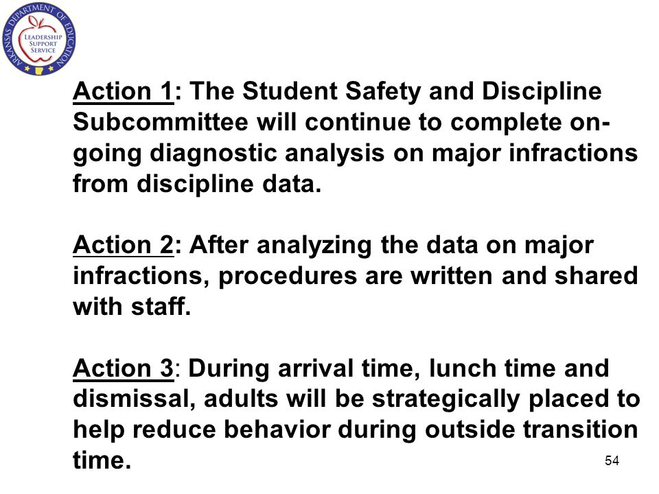 Action 1: The Student Safety and Discipline Subcommittee will continue to complete on- going diagnostic analysis on major infractions from discipline data.