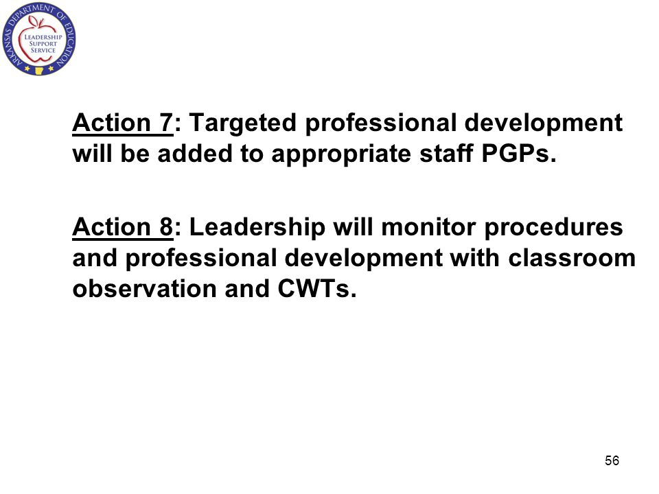 Action 7: Targeted professional development will be added to appropriate staff PGPs.