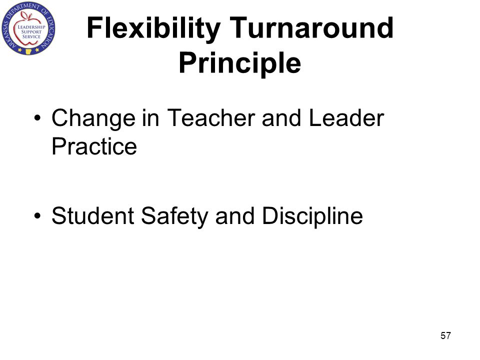 Flexibility Turnaround Principle Change in Teacher and Leader Practice Student Safety and Discipline 57