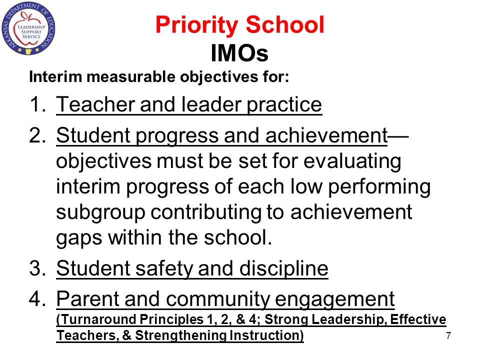 Priority School IMOs Interim measurable objectives for: 1.Teacher and leader practice 2.Student progress and achievement— objectives must be set for evaluating interim progress of each low performing subgroup contributing to achievement gaps within the school.