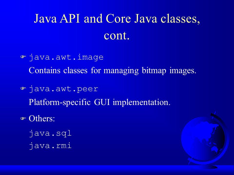  java.awt.image Contains classes for managing bitmap images.  java.awt.peer Platform-specific GUI implementation. F Others: java.sql java.rmi Java A