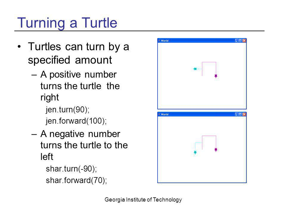 Georgia Institute of Technology Turning a Turtle Turtles can turn by a specified amount –A positive number turns the turtle the right jen.turn(90); je