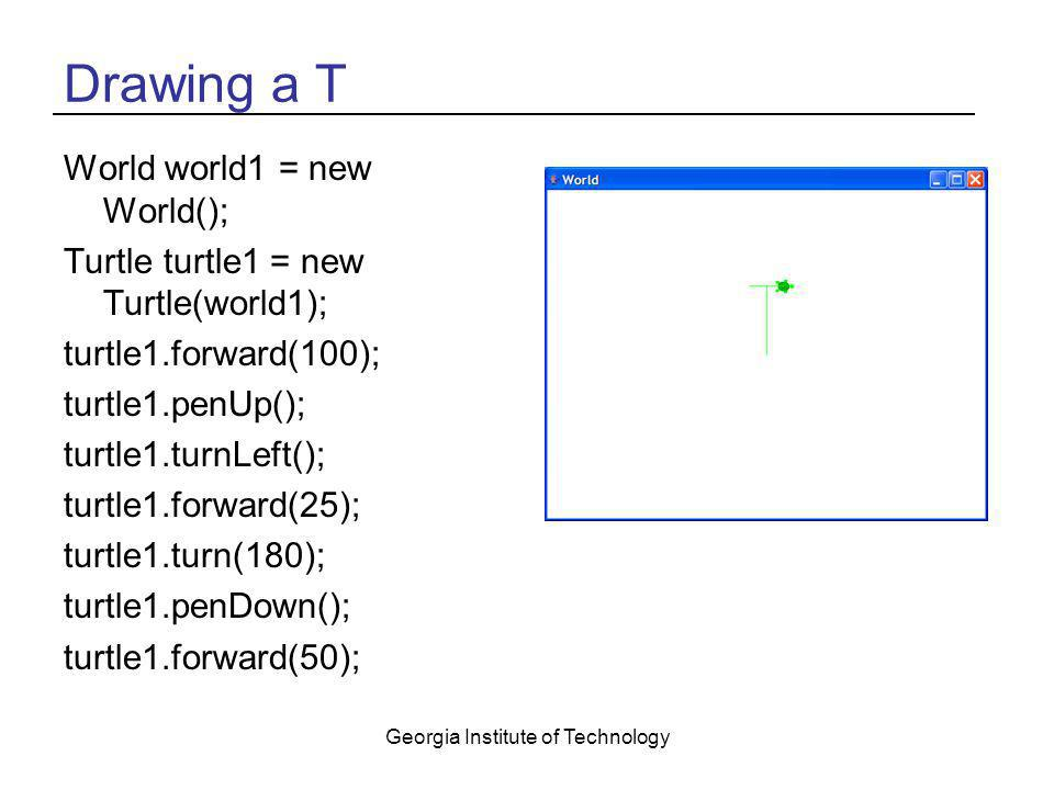 Georgia Institute of Technology Drawing a T World world1 = new World(); Turtle turtle1 = new Turtle(world1); turtle1.forward(100); turtle1.penUp(); tu