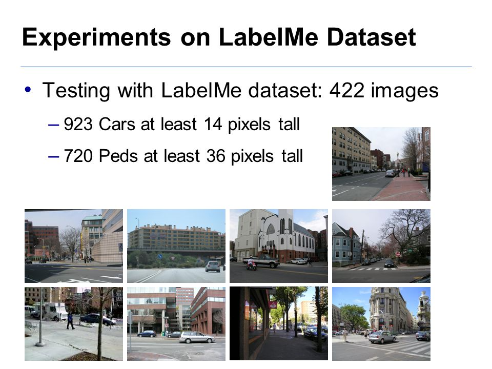 Experiments on LabelMe Dataset Testing with LabelMe dataset: 422 images – 923 Cars at least 14 pixels tall – 720 Peds at least 36 pixels tall