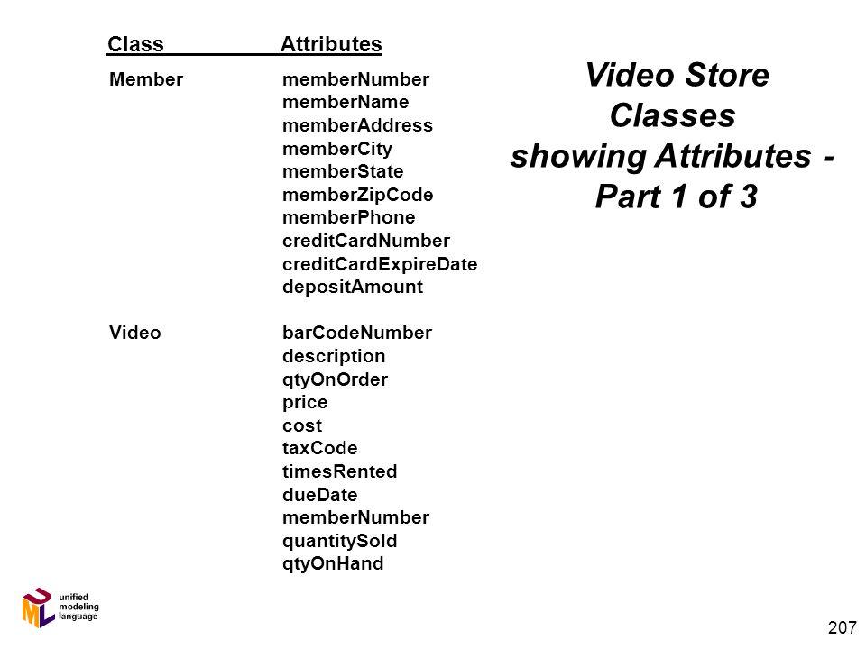 206 List of Classes – Final Pass RentalTransaction Member Employee StoreLocation Supplier Purchase Order Purchase Order Line Item SaleRentalLineItem N