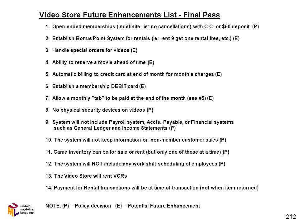 211 Inventory Video Store – UML Class Diagram SaleItem RentalItem Video Game ConcessionItem VCR Transaction Employee StoreLocation SaleTransaction Ren