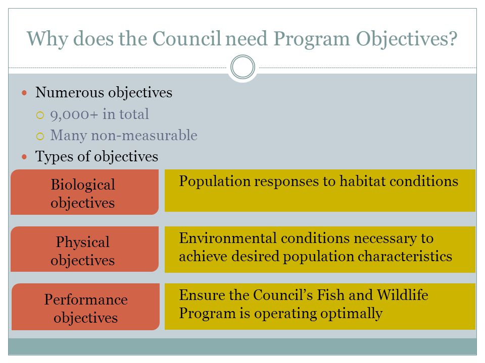 Pacific Ocean Columbia River Basin Council Why three types of objectives.