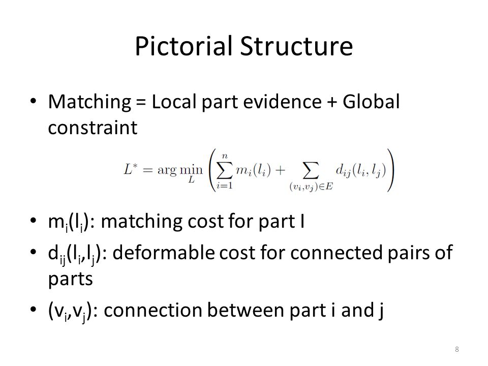 Pictorial Structure Matching = Local part evidence + Global constraint m i (l i ): matching cost for part I d ij (l i,l j ): deformable cost for conne