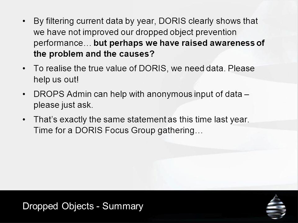 Dropped Objects - Summary By filtering current data by year, DORIS clearly shows that we have not improved our dropped object prevention performance…