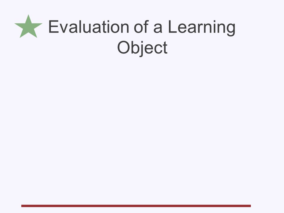 Evaluation of a Learning Object