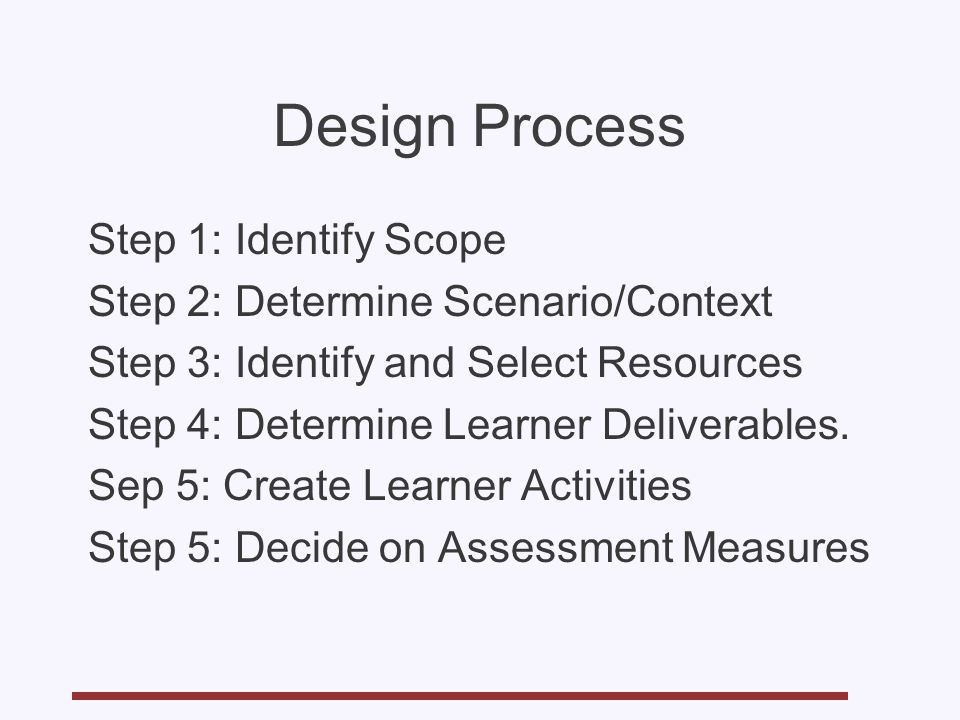 Design Process Step 1: Identify Scope Step 2: Determine Scenario/Context Step 3: Identify and Select Resources Step 4: Determine Learner Deliverables.