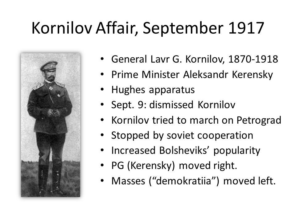 Kornilov Affair, September 1917 General Lavr G. Kornilov, 1870-1918 Prime Minister Aleksandr Kerensky Hughes apparatus Sept. 9: dismissed Kornilov Kor