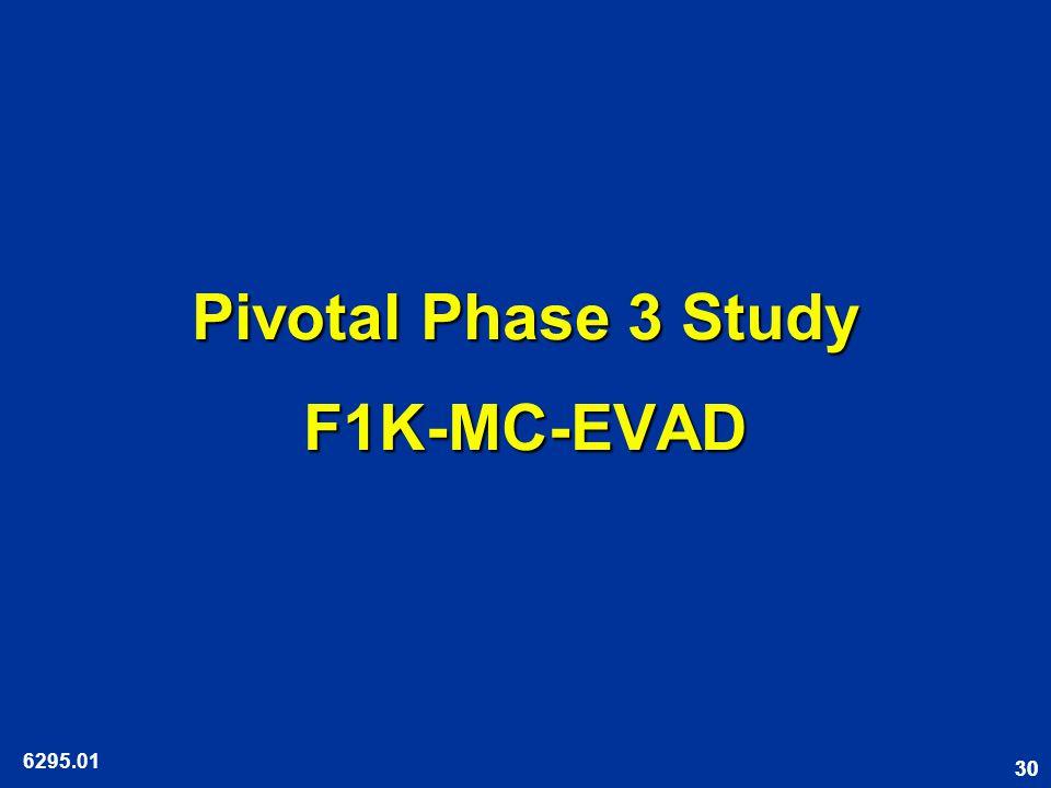 30 Pivotal Phase 3 Study F1K-MC-EVAD 6295.01