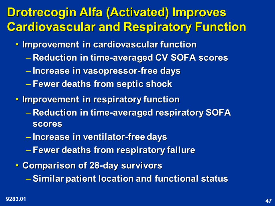 47 Drotrecogin Alfa (Activated) Improves Cardiovascular and Respiratory Function Improvement in cardiovascular functionImprovement in cardiovascular function –Reduction in time-averaged CV SOFA scores –Increase in vasopressor-free days –Fewer deaths from septic shock Improvement in respiratory functionImprovement in respiratory function –Reduction in time-averaged respiratory SOFA scores –Increase in ventilator-free days –Fewer deaths from respiratory failure Comparison of 28-day survivorsComparison of 28-day survivors –Similar patient location and functional status
