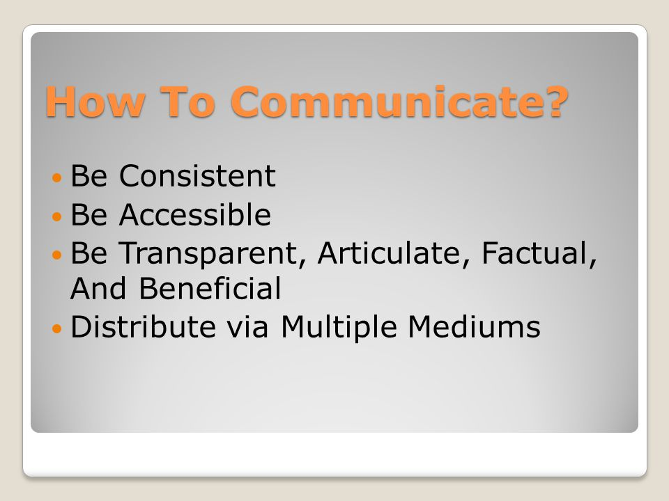 How To Communicate.