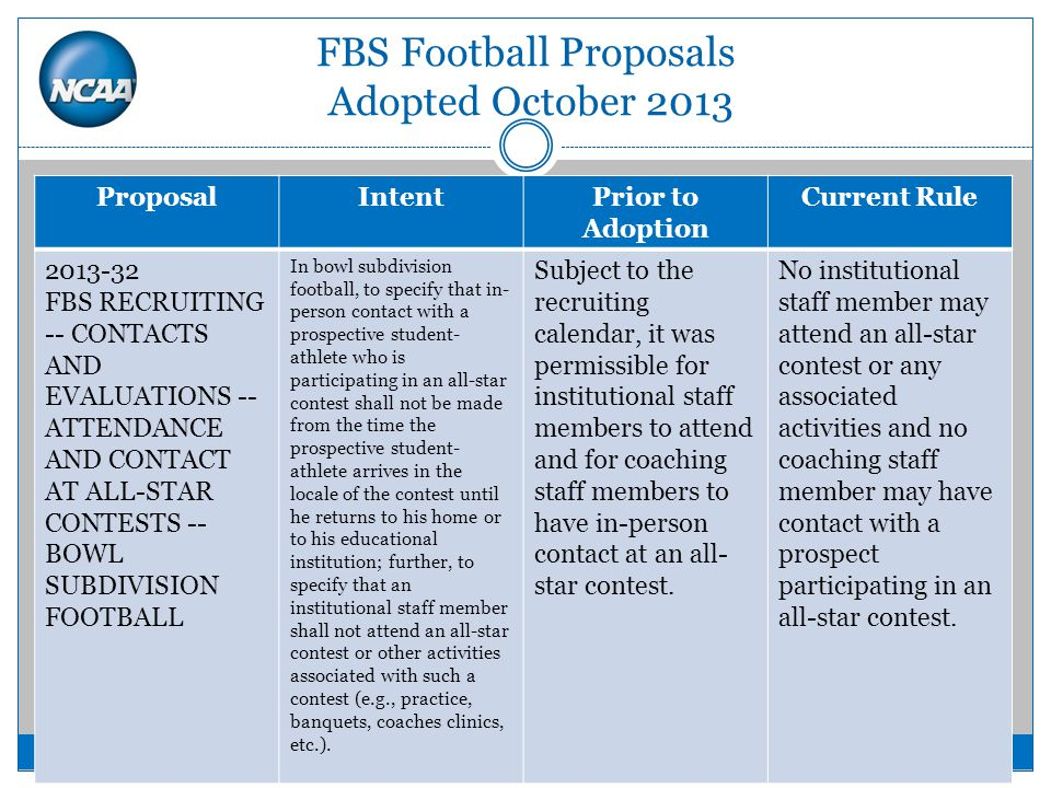 FBS Football Proposals Adopted October 2013 ProposalIntentPrior to Adoption Current Rule 2013-32 FBS RECRUITING -- CONTACTS AND EVALUATIONS -- ATTENDANCE AND CONTACT AT ALL-STAR CONTESTS -- BOWL SUBDIVISION FOOTBALL In bowl subdivision football, to specify that in- person contact with a prospective student- athlete who is participating in an all-star contest shall not be made from the time the prospective student- athlete arrives in the locale of the contest until he returns to his home or to his educational institution; further, to specify that an institutional staff member shall not attend an all-star contest or other activities associated with such a contest (e.g., practice, banquets, coaches clinics, etc.).