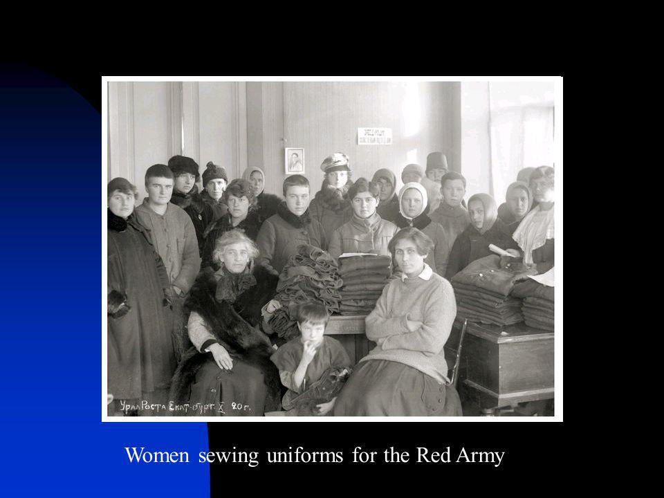 Women sewing uniforms for the Red Army