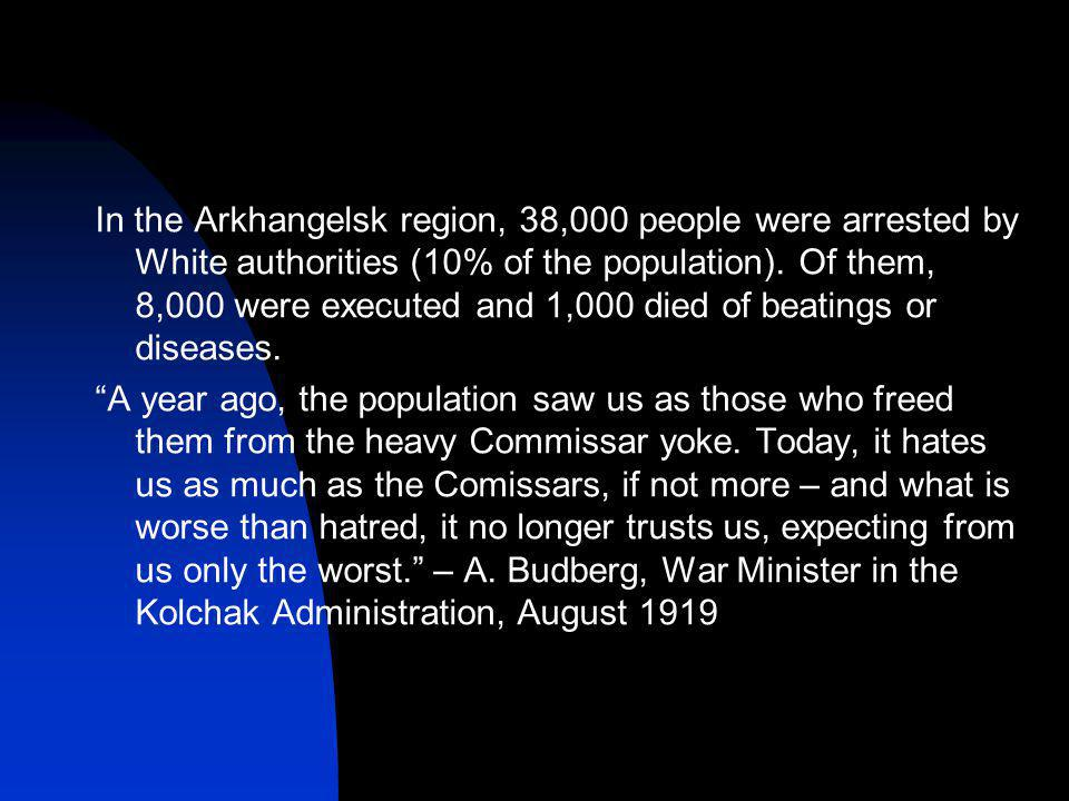 In the Arkhangelsk region, 38,000 people were arrested by White authorities (10% of the population).