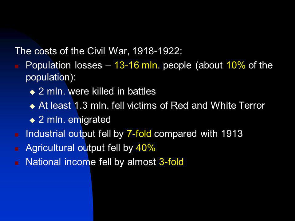 The costs of the Civil War, 1918-1922: Population losses – 13-16 mln.