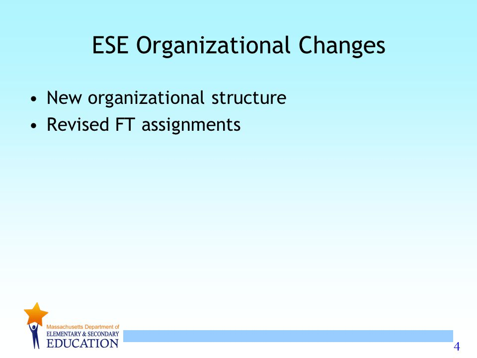 4 ESE Organizational Changes New organizational structure Revised FT assignments