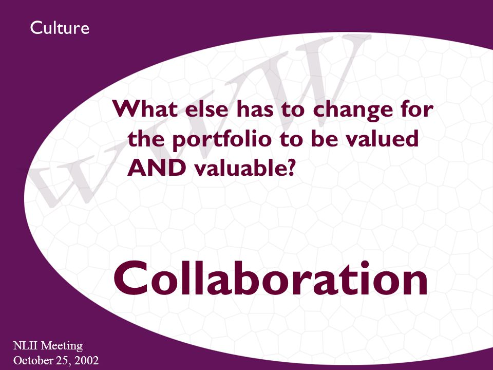NLII Meeting October 25, 2002 Culture What else has to change for the portfolio to be valued AND valuable.