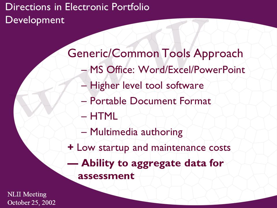 NLII Meeting October 25, 2002 Directions in Electronic Portfolio Development Generic/Common Tools Approach –MS Office: Word/Excel/PowerPoint –Higher level tool software –Portable Document Format –HTML –Multimedia authoring + Low startup and maintenance costs — Ability to aggregate data for assessment