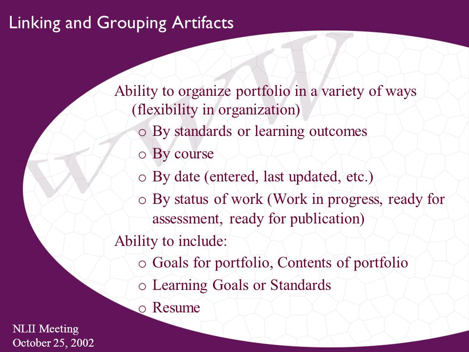 NLII Meeting October 25, 2002 Linking and Grouping Artifacts Ability to organize portfolio in a variety of ways (flexibility in organization) o By standards or learning outcomes o By course o By date (entered, last updated, etc.) o By status of work (Work in progress, ready for assessment, ready for publication) Ability to include: o Goals for portfolio, Contents of portfolio o Learning Goals or Standards o Resume