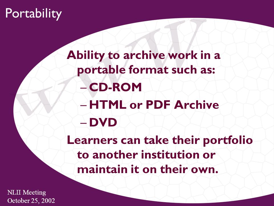 NLII Meeting October 25, 2002 Portability Ability to archive work in a portable format such as: –CD-ROM –HTML or PDF Archive –DVD Learners can take their portfolio to another institution or maintain it on their own.