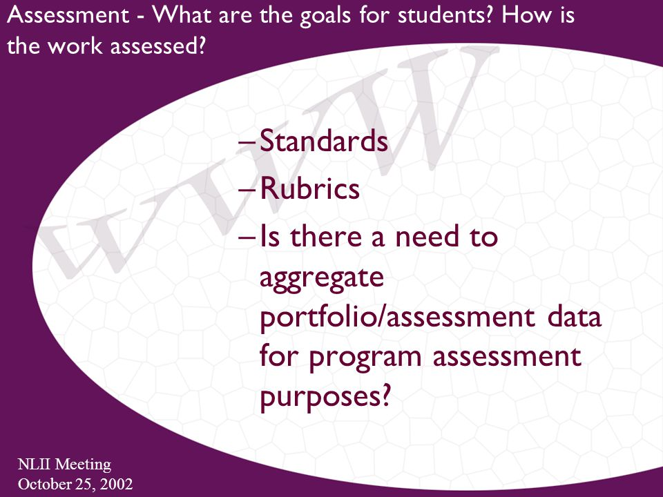 NLII Meeting October 25, 2002 Assessment - What are the goals for students.