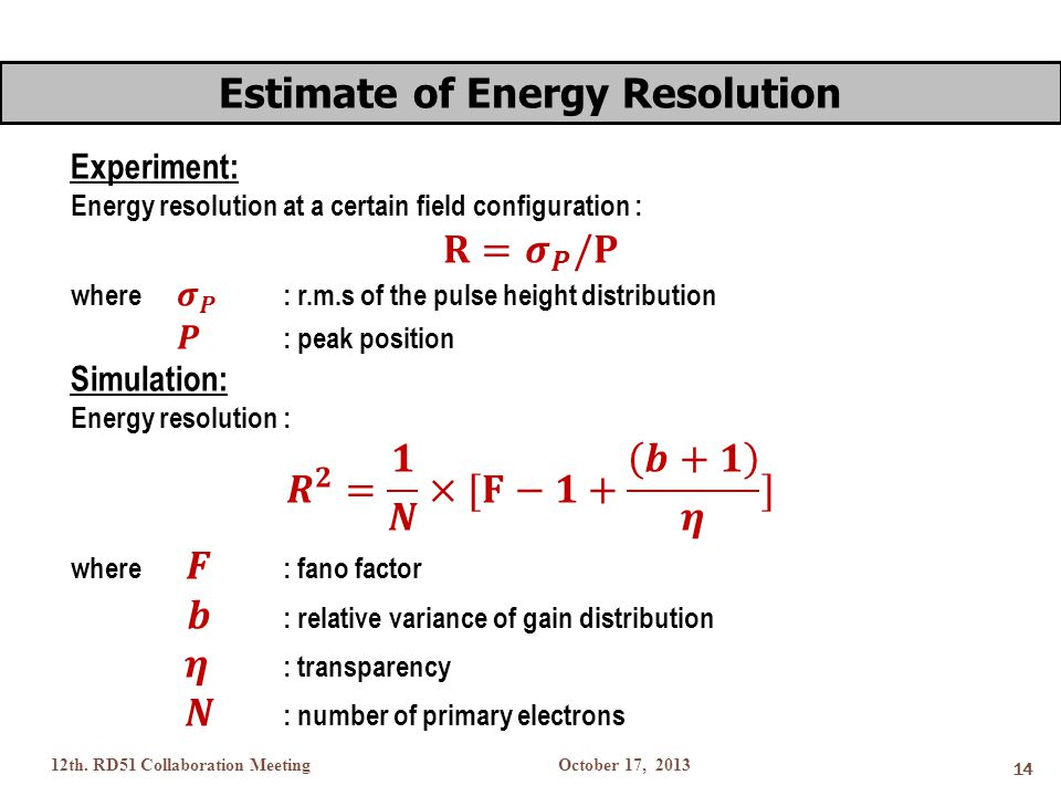 October 17, 201312th. RD51 Collaboration Meeting 14 Estimate of Energy Resolution