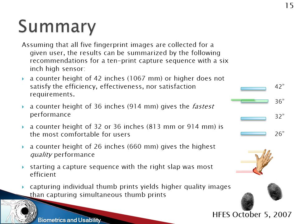 Biometrics and Usability 15 HFES October 5, 2007 Biometrics and Usability 15 HFES October 5, 2007 Assuming that all five fingerprint images are collec
