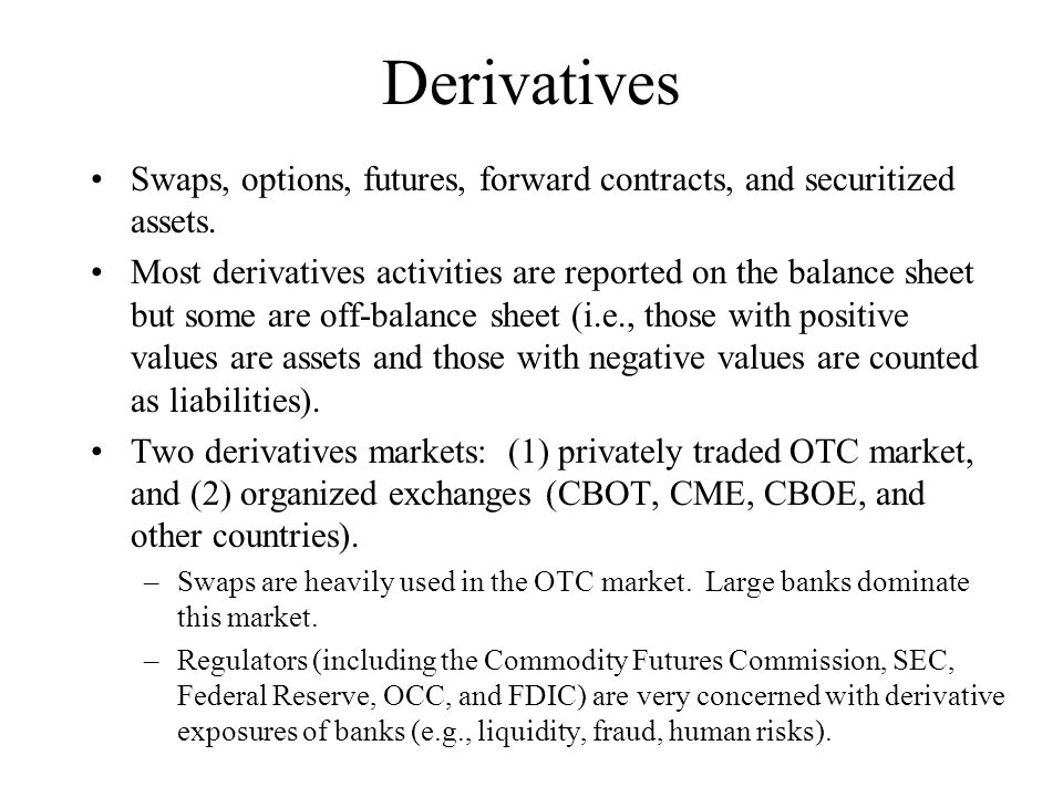 Derivatives Swaps, options, futures, forward contracts, and securitized assets. Most derivatives activities are reported on the balance sheet but some