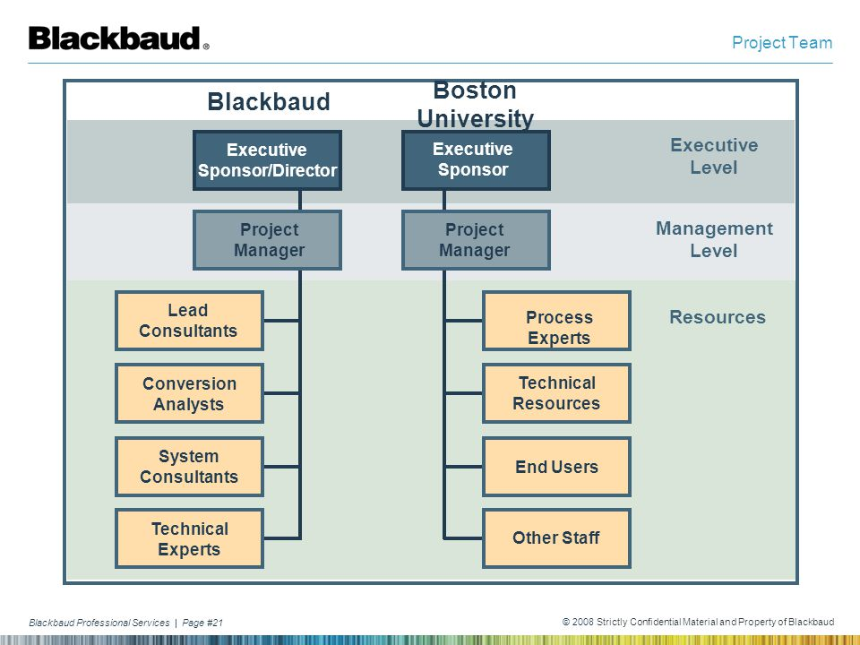 Blackbaud Professional Services | Page #21 © 2008 Strictly Confidential Material and Property of Blackbaud Project Team Executive Level Management Lev